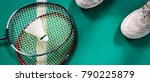 badminton ball and racket on... | Shutterstock . vector #790225879