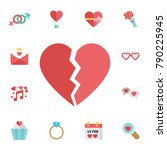 broken heart icon. digital... | Shutterstock .eps vector #790225945