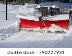 a truck with a snow blade... | Shutterstock . vector #790227931