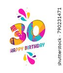 happy birthday thirty 30 year ... | Shutterstock . vector #790231471