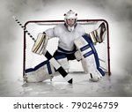 Small photo of Studio pic of a female, teenage hockey goalie and net with a fog background.