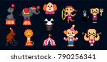 circus icon set. pixel art. old ... | Shutterstock .eps vector #790256341