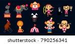 circus icon set. pixel art. old ... | Shutterstock .eps vector #790256341