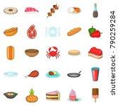 crockery icons set. cartoon set ... | Shutterstock .eps vector #790259284