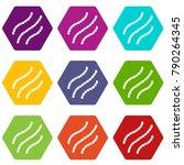 escherichia coli icon set many... | Shutterstock .eps vector #790264345