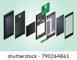 the disassembled phone against... | Shutterstock .eps vector #790264861