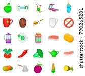 low calorie food icons set.... | Shutterstock .eps vector #790265281