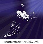 jesus praying with light rays...
