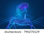 man wearing virtual reality... | Shutterstock .eps vector #790270129