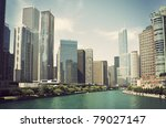 Chicago River surrounded by the skyscrapers - stock photo