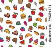 fast food pattern | Shutterstock .eps vector #790296871