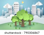 tree surrounded by a buildings  ...   Shutterstock .eps vector #790306867