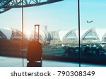silhouette suitcase luggage on... | Shutterstock . vector #790308349