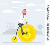 a man riding a bicycle that... | Shutterstock .eps vector #790308919
