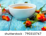 cosmetic creams and rose... | Shutterstock . vector #790310767