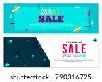 memphis style futuristic banner ... | Shutterstock .eps vector #790316725