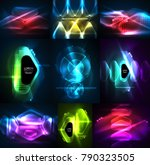 set of glowing abstract shapes... | Shutterstock .eps vector #790323505