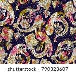 watercolor  paisley  pattern on ... | Shutterstock . vector #790323607