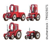 vector set of tractors of... | Shutterstock .eps vector #790325071