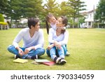 young asian family father ... | Shutterstock . vector #790334059