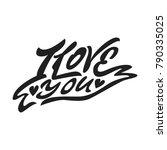 i love you. premium handmade... | Shutterstock .eps vector #790335025