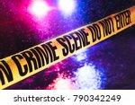 crime scene on a rainy night... | Shutterstock . vector #790342249