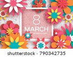 8 march. happy women's day. red ... | Shutterstock .eps vector #790342735