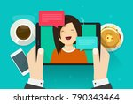video chat or call vector...   Shutterstock .eps vector #790343464
