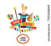 circus. rabbit in the hat.... | Shutterstock .eps vector #790348849