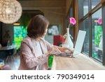 young asian business woman... | Shutterstock . vector #790349014