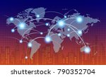 world map with coherent nodes... | Shutterstock .eps vector #790352704