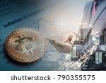 double exposure of businessman... | Shutterstock . vector #790355575