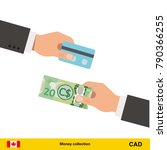 hand giving canadian dollar... | Shutterstock .eps vector #790366255