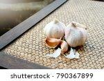 garlic. garlic cloves and...   Shutterstock . vector #790367899