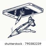 caricature of mass media.... | Shutterstock .eps vector #790382239