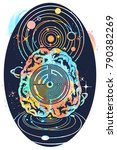 brain and universe tattoo art... | Shutterstock .eps vector #790382269