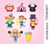 circus icon set. pixel art. old ... | Shutterstock .eps vector #790382857