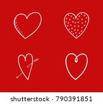 set of hand drawn hearts for...   Shutterstock .eps vector #790391851