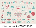 hand drawn icons for carnival ... | Shutterstock .eps vector #790391905