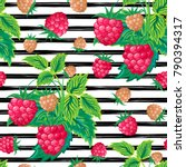 seamless pattern with raspberry ... | Shutterstock .eps vector #790394317