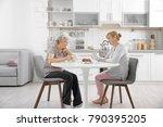 senior woman and caregiver... | Shutterstock . vector #790395205