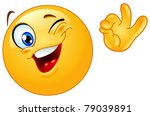 winking emoticon showing ok sign | Shutterstock .eps vector #79039891