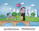 illustration of love and... | Shutterstock .eps vector #790404235