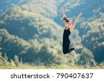 happy excited fitness woman... | Shutterstock . vector #790407637