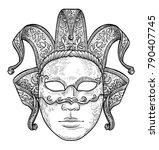 venetian mask illustration ... | Shutterstock .eps vector #790407745