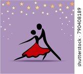 couple dancing tango  raster... | Shutterstock . vector #790408189