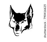 hand drawn wolf's head. black... | Shutterstock .eps vector #790416625