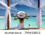 beautiful woman with white hat...   Shutterstock . vector #790418815