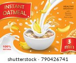 oatmeal muesli with banana and... | Shutterstock .eps vector #790426741