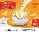 oatmeal muesli with banana and... | Shutterstock .eps vector #790426741